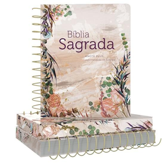 Bíblia Anote Plus Espiral Letra Maior - Flor Marmorizada