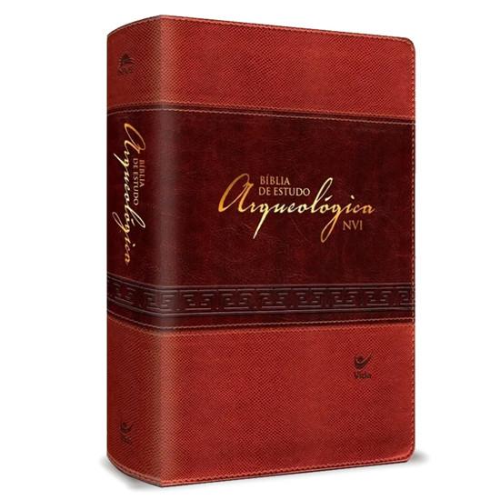 Bíblia de Estudo Arqueológica NVI (Luxo Marrom Claro e Escuro)