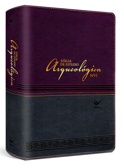 Bíblia de Estudo Arqueológica NVI (Luxo Vinho e Cinza)