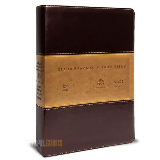 Bíblia NVI Português-Inglês - Champanhe Ouro