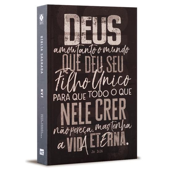 Bíblia NVT - João 3:16 - Cinza Chumbo