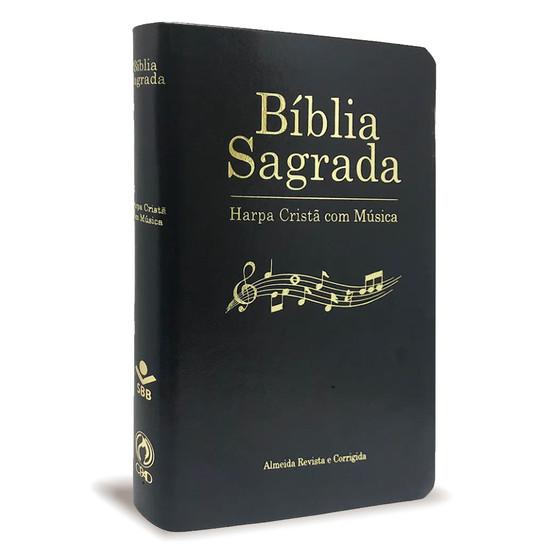 Bíblia Sagrada com Harpa C/ Música - Luxo Preta