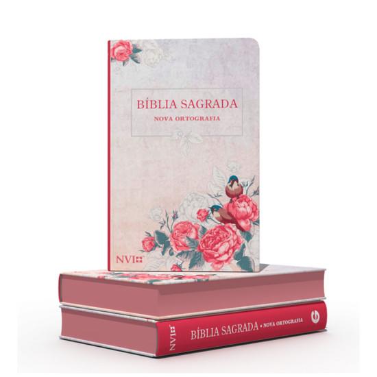 Bíblia NVI Gigante (Semi luxo - Rosas e pássaros)