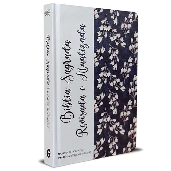 Bíblia Sagrada - Revisada e Atualizada (Semi luxo - Flor Marinho)