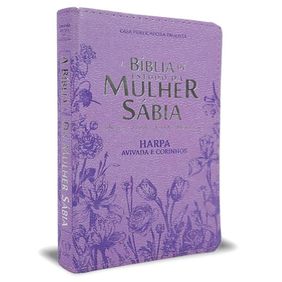 Bíblia de Estudo da Mulher Sábia Com Harpa e Corinhos - Capa Flores Lilás