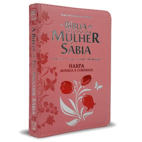 Bíblia de Estudo da Mulher Sábia Com Harpa e Corinhos - Capa  Tulipa Rosa