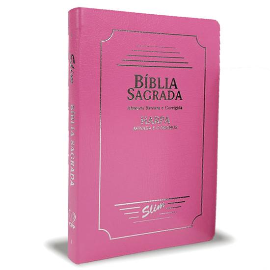 Bíblia Slim ARC - Capa Coverbook com Harpa e Corinhos (PINK)