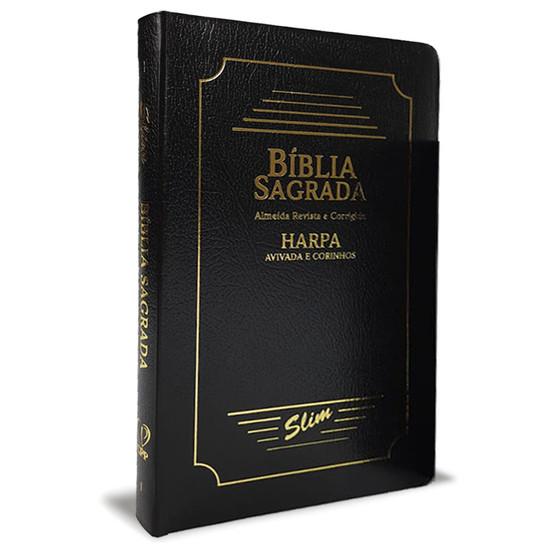 Bíblia Slim ARC - Capa Coverbook com Harpa e Corinhos (Preta)