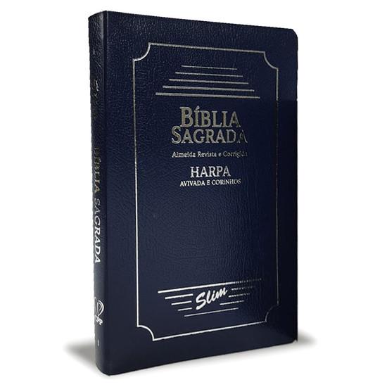 Bíblia Slim ARC - Capa Coverbook com Harpa e Corinhos (Azul)
