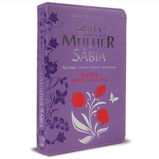 Bíblia de Estudo da Mulher Sábia Com Harpa e Corinhos - Capa Tulipa Lilás