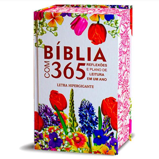 Bíblia Com 365 Reflexões e Plano de leitura - Hipergigante - Capa  Flores