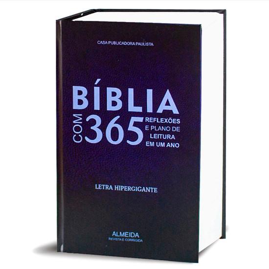 Bíblia Com 365 Reflexões e Plano de leitura - Hipergigante - Capa Azul