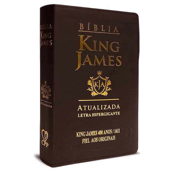 Bíblia King James Atualizada 400 Anos - Hiper Gigante - Luxo Marrom escuro
