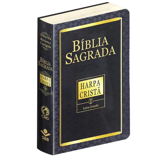 Bíblia Sagrada com Harpa Cristã e Letra Grande (Capa Dura)
