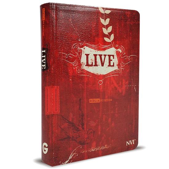 Bíblia de Estudo LIVE (Estampada vermelha)