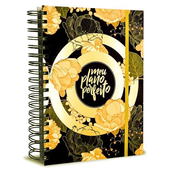 Meu Plano Perfeito - Planner Anual (Capa dura - preta com flores douradas)