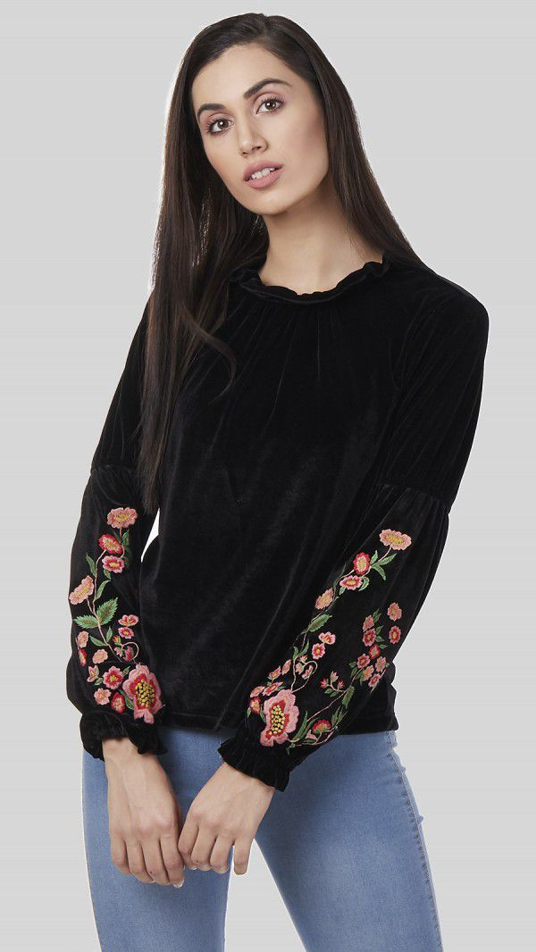 SbuyS - Embroidered Velvet Top