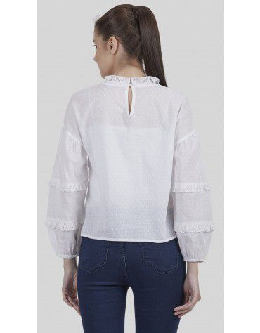 SbuyS - Ruffle Neck Lace Peasant Top