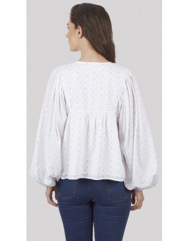 SbuyS - Embroidered Yoke Dobby Blouse