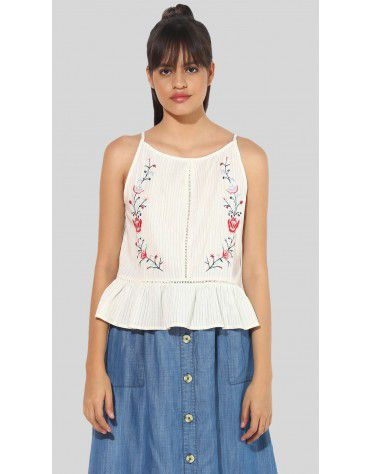 SbuyS  - Floral Embroidered Peplum Cami Top