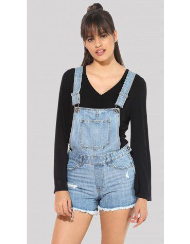 SbuyS  - Light Blue Denim Shorts Romper