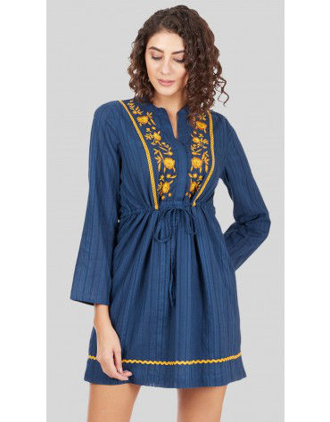 SbuyS - Embroidered Yoke Midi Dress