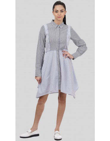 SbuyS - Striped Asymmetric Shirt Dress