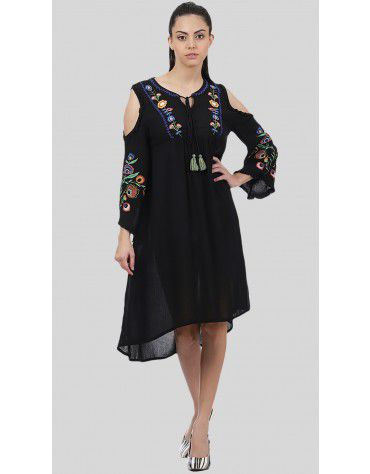 SbuyS - Embroidered Cold Shoulder Dress