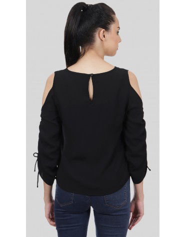 SbuyS  - Ruched Sleeve Cold Shoulder Top