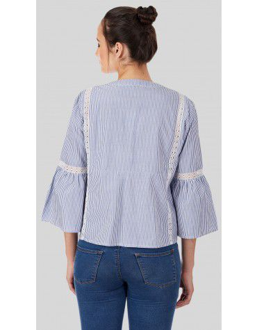 SbuyS  - Embroidered Stripe Peplum Blouse