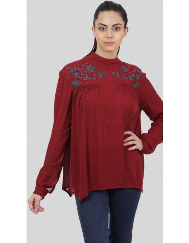 SbuyS  - High Neck Embroidered Blouse