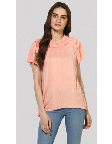 SbuyS  - Ruched Neck Flutter Sleeves T-Shirt