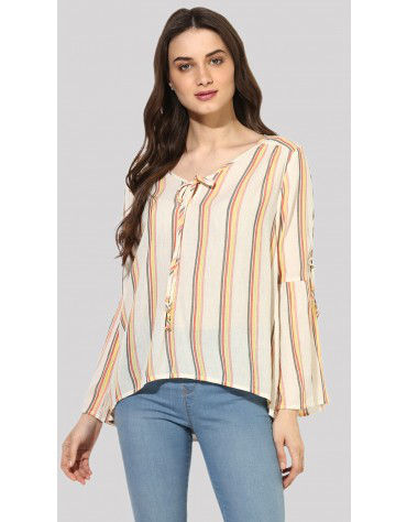 SbuyS  - Long Sleeve Lace Up Peasant Top