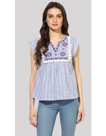SbuyS - Cap Sleeve Boho Embroidery Top