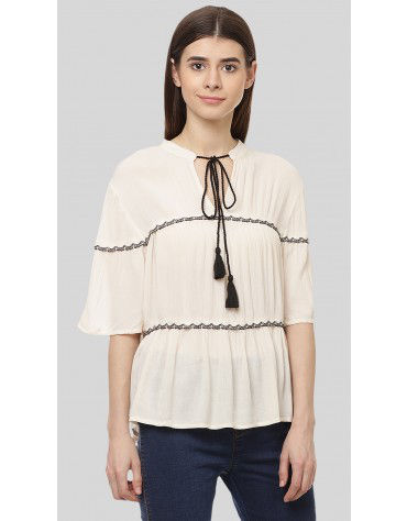 SbuyS - Short Sleeve Tiered Peasant Blouse