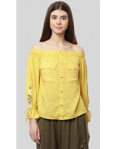 SbuyS - Floral Embroidery Off Shoulder Long Shirt