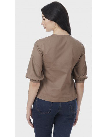 SbuyS - V Neck Button Placket Shirt
