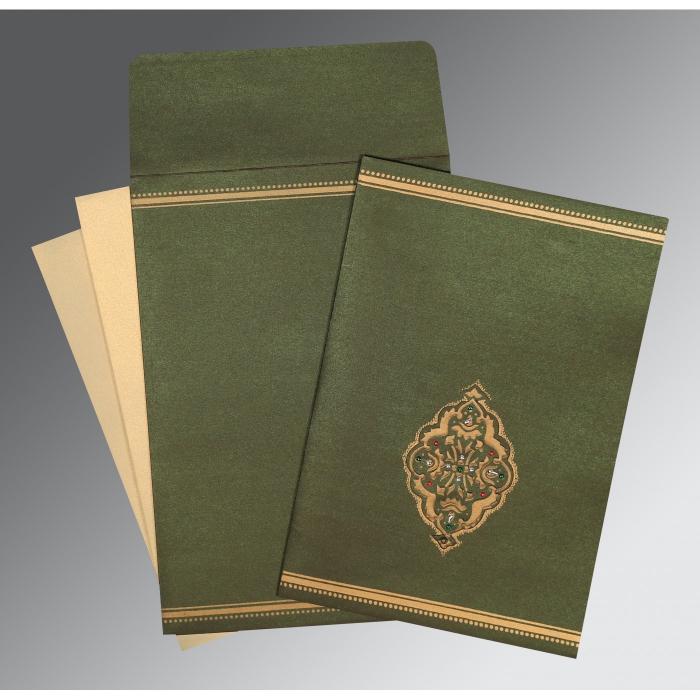 DARK OLIVE GREEN SHIMMERY EMBOSSED WEDDING CARD : I-1388 - 123WeddingCards