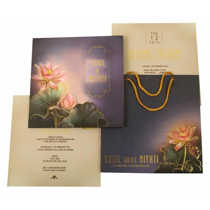 MULTI COLOR MATTE BOX THEMED - FOIL STAMPED WEDDING INVITATION : W-1841 - 123WeddingCards