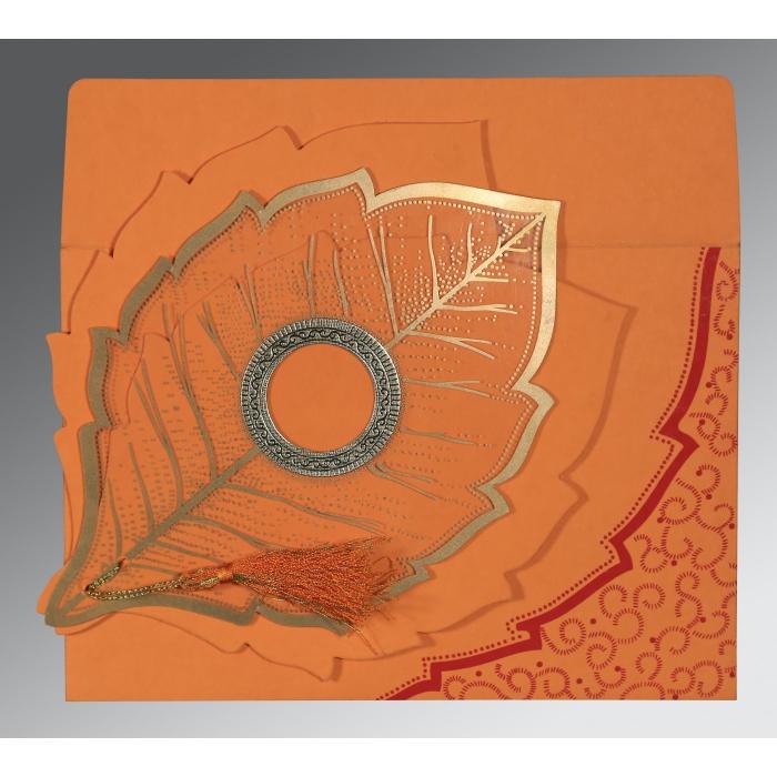 ORANGE HANDMADE COTTON FLORAL THEMED - FOIL STAMPED WEDDING CARD : IN-8219B - 123WeddingCards