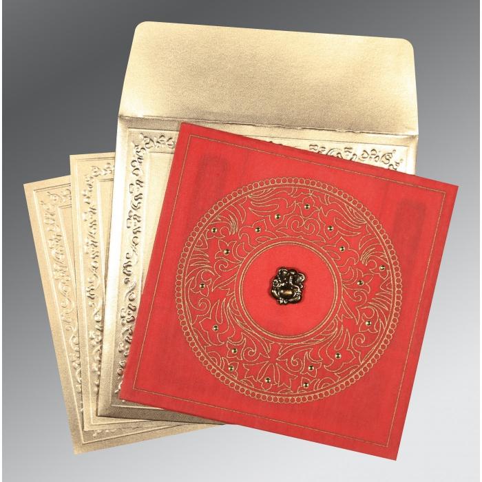 BRICK RED WOOLY SCREEN PRINTED WEDDING CARD : IN-8214G - 123WeddingCards