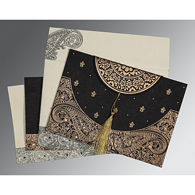 BLACK HANDMADE COTTON EMBOSSED WEDDING CARD : IN-8234A