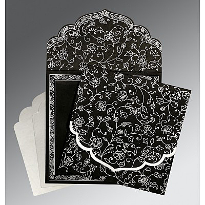 BLACK WOOLY FLORAL THEMED - SCREEN PRINTED WEDDING INVITATION : IN-8211B