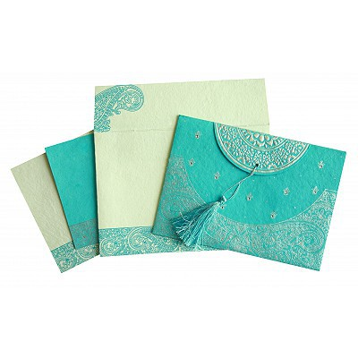 TURQUOISE HANDMADE COTTON EMBOSSED WEDDING CARD : IN-8234K