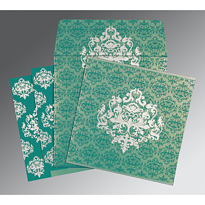 TURQUOISE SHIMMERY DAMASK THEMED - SCREEN PRINTED WEDDING CARD : IN-8254E