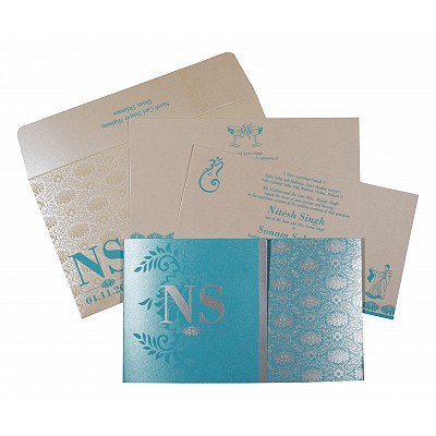 TURQUOISE SHIMMERY DAMASK THEMED - SCREEN PRINTED WEDDING INVITATION : IN-8261E
