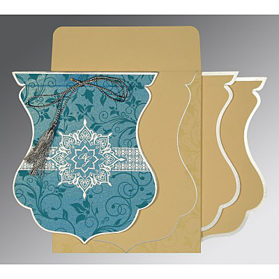 TURQUOISE SHIMMERY FLORAL THEMED - SCREEN PRINTED WEDDING CARD : IN-8229M