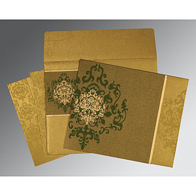 GREEN SHIMMERY DAMASK THEMED - SCREEN PRINTED WEDDING CARD : IN-8253C
