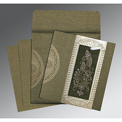 DEEP GREEN SHIMMERY PAISLEY THEMED - FOIL STAMPED WEDDING INVITATION : IN-8230L