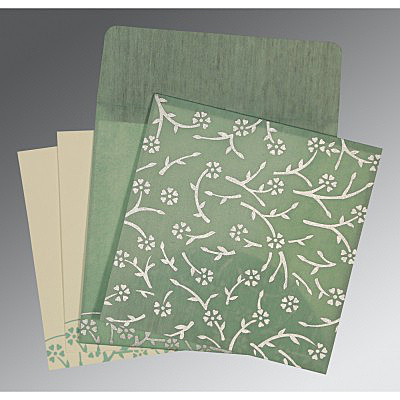 SAGE GREEN WOOLY FLORAL THEMED - SCREEN PRINTED WEDDING INVITATION : IN-8216F